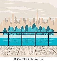 paysage, sur, parc, arbres, cityscape, rivière