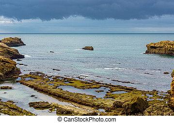 paysage, sur, temps, côtier, orageux