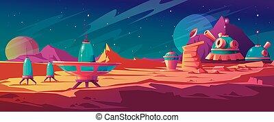 paysage, surface, colonie, bâtiments, mars
