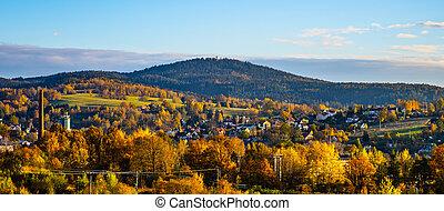 paysage, temps, vallonné, coucher soleil, automne