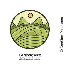 paysage, toile, collines, champs, bouton, conception, paysage vert