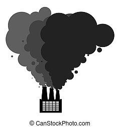 paysage., toxique, ambiant, vecteur, catastrophy., factory., écologique, noir, usine industrielle, fumée, emissions., pollution., illustration, canaux transmission