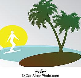 paysage tropical, surfeur