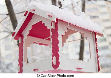 paysage urbain, arbre, neige, pend, nourrisseur, dehors, couvert, plastique, oiseau, rouges