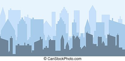 paysage., urbain, bleu, vue, horizon, vecteur, ville, gratte-ciel, conception, illustration., silhouette
