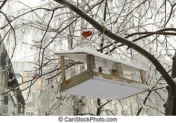 paysage urbain, bois, arbre, neige, pend, nourrisseur, dehors, couvert, oiseau