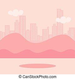 paysage, urbain, icônes, scène