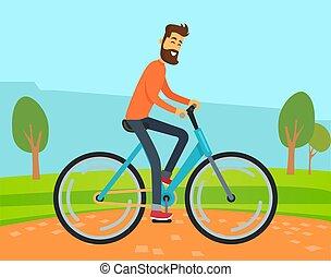 paysage, vélo, campagne, équitation, route, homme