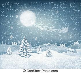 paysage, vacances, hiver, fond, noël