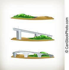 paysage, vecteur, éléments conception