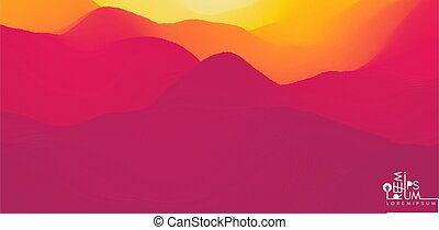 paysage, vecteur, désert, arrière-plan., dawn., collines,...