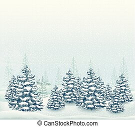 paysage, vecteur, forêt, illustration, hiver