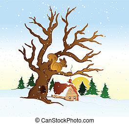 paysage., vecteur, hiver, illustration, village