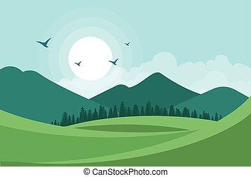 paysage, vecteur, illustration, fond