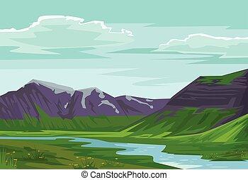 paysage., vecteur, illustration, plat