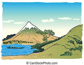 paysage, vecteur, japonaise, illustration