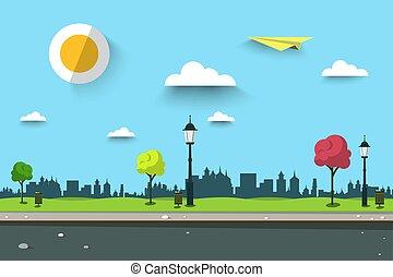 paysage., vecteur, urbain, scene., park., sentier, ville, ...