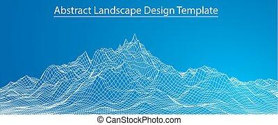 paysage., vecteur, wireframe, 3d