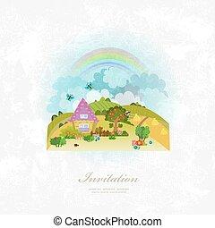 paysage, vendange, rural, carte, invitation