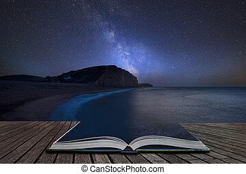 paysage, venir, ouest, pages, image, livre, composite, ...