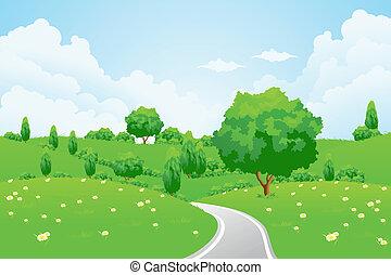 paysage vert, à, colline, arbre, route, et, fleurs