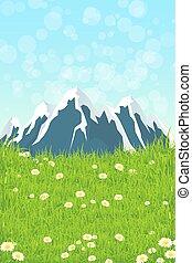 paysage vert, à, montagnes