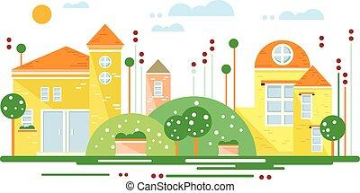 paysage vert, à, ville, arbres, les, route, fleurs, beau, maisons, et, nuages