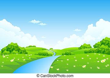 paysage vert, arbres