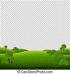 paysage, vert, isolé, fond, transparent