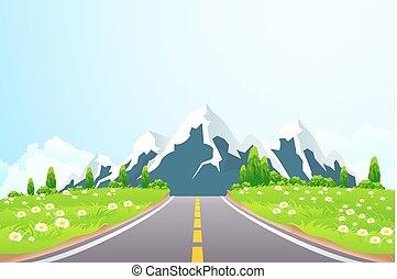 paysage vert, route