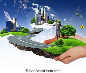 paysage, vert, tenue, main humaine