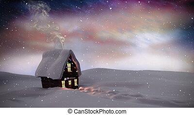 paysage, vidéo, neige, hiver, composition, sur, nuit