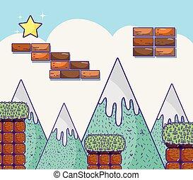paysage, videogame, retro