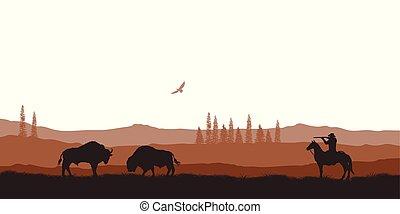 paysage., vie sauvage, silhouette, chasse, cow-boy, panorama, scène, désert, américain, scenery., occidental, naturel, horse.