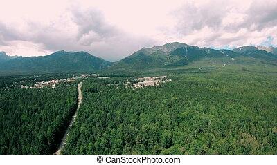 paysage ville, aérien, montagnes, vert sombre, forêt, route, vue