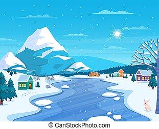 paysage ville, hiver, illustration