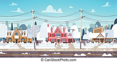 paysage, ville, ou, banlieue, maison, sommet, bâtiments, ...