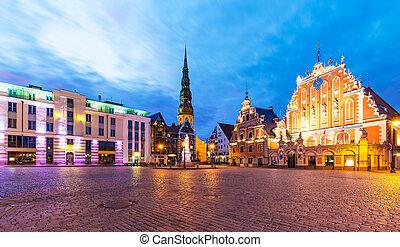 paysage, ville, soir, vieux, carrée, riga, salle, lettonie
