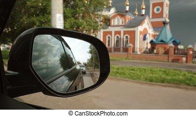 paysage, voiture, église, rétroviseur
