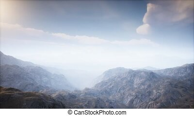 paysage, volcan, brouillard, cratère