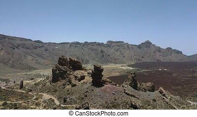 paysage, volcano., lunaire, cratère, tenerife, teide