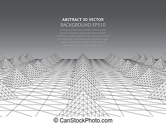 paysage., volumétrique, résumé, surréaliste, fond, pyramids.