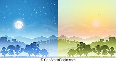 paysages, jour, nuit