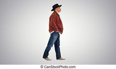paysan, arrière-plan., marche, personne agee, chapeau, gradient