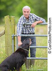 paysan, chien, champ