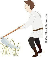 paysan, illustration homme, faux, moyen-âge