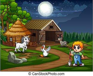 paysan, paysage, nuit, fonctionnement