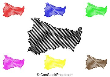 Paysandu Department (Departments of Uruguay, Oriental Republic of Uruguay) map vector illustration, scribble sketch Paysandu map