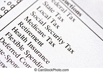 Payslip Deductions - Macro of deductions on a paycheck.