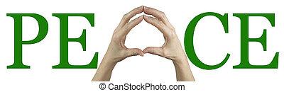 paz, é, em, seu, mãos